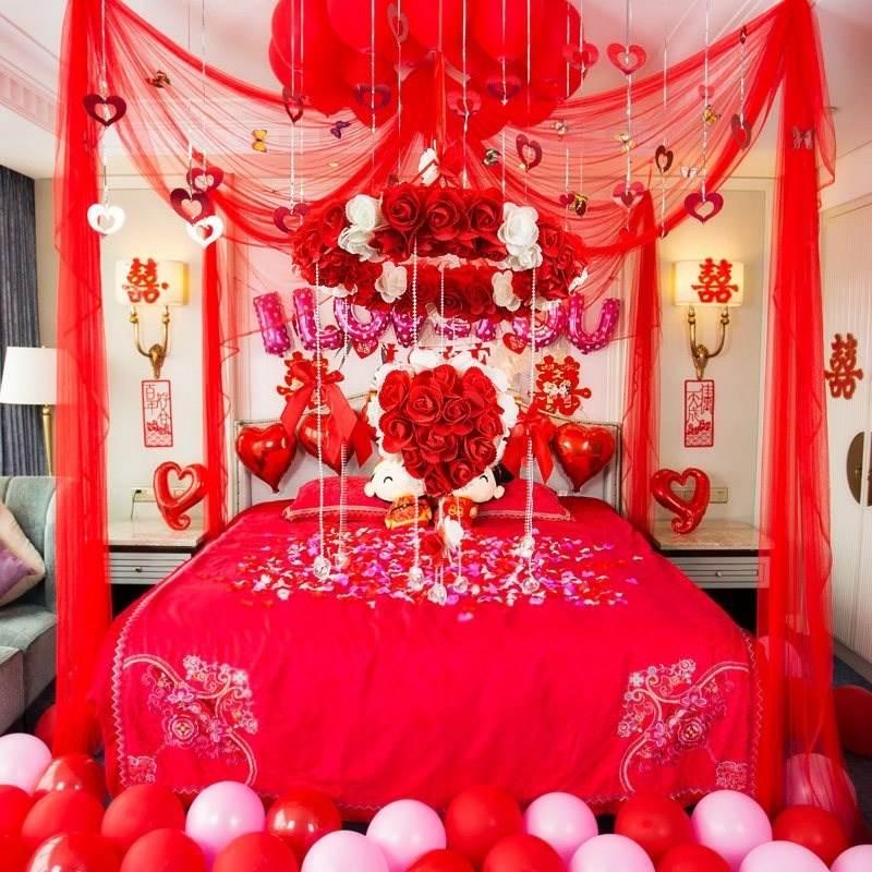 新房喜庆新娘情侣拉花结婚用的东西花球婚礼婚房用品床上用婚庆浪