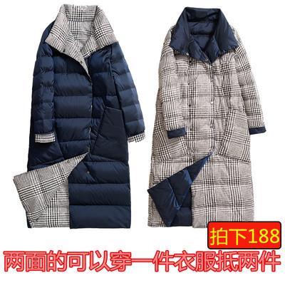 冬新款加厚中长款羽绒服女装两面穿时尚大码韩版格子外套反季清仓