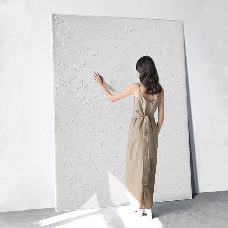 定制玄关装饰画现代简约大幅纯色立体感挂画纯手绘设计师系列油画