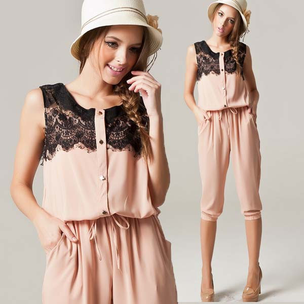 Package mail summer new European and American snow spinning lace eyelashes 7-point sleeveless vest Jumpsuit