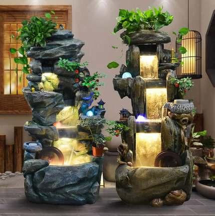 假山流水喷泉室内风水轮加湿摆件创意家居客厅阳台招财养鱼池景观
