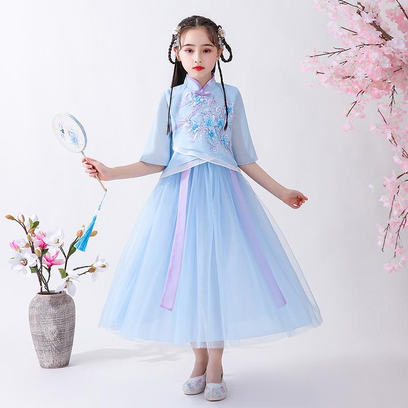女童2020新夏装中国风古装汉服雪纺套装复古礼服超仙儿童洋气唐装