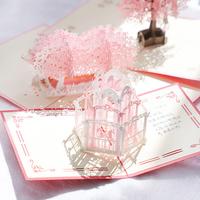 Высококачественный Романтическая вишневая открытка 3D стерео для влюбленной пары diy ручная работа домашний корейский Творческое спасибо в подарок Учитель подарок праздник подарок на день рождения благословение маленькая карта может быть написана слово Рождество благодарения