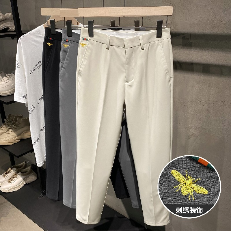 Summer thin British small trousers handsome drop straight slim tapered casual 9-point suit pants