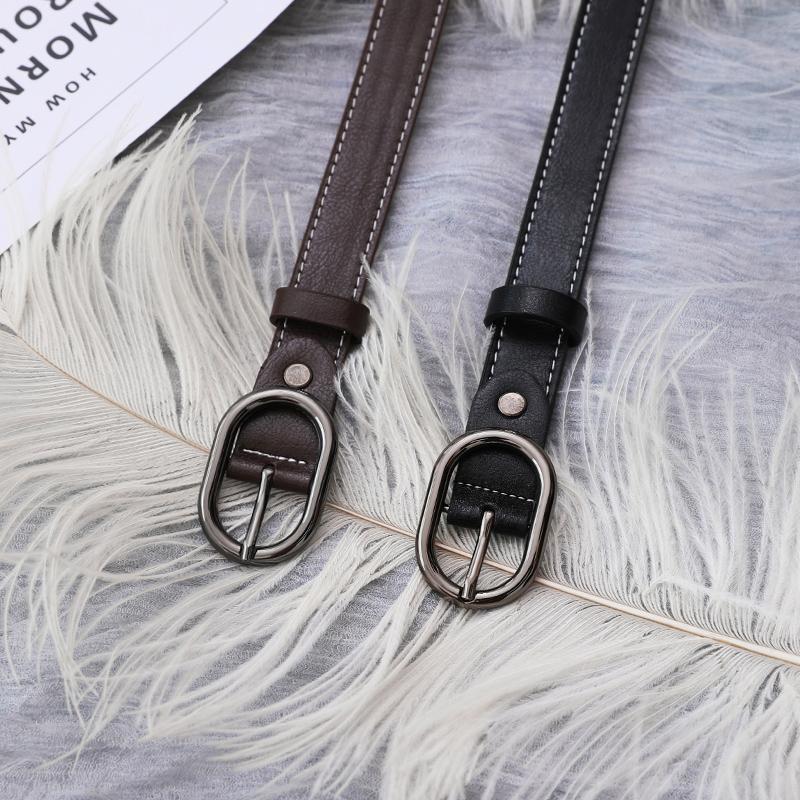 Belt girl, soft leather, retro jeans, black belt, simple style, Korean fashion belt, female student