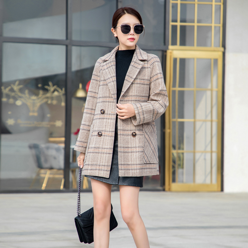Nizi coat womens new style Korean Short woolen small subnet Red Plaid suit coat in the early autumn of 2020