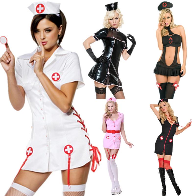 万圣节服装皮革PVC护士装演出服舞台装欧美护士游戏制服一件代发y