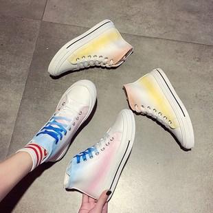 遇光變色鞋子小白鞋帆布鞋網紅超火爆款板鞋潮高幫紫外線光感新款