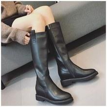 不过膝长靴女2019秋冬新款内增高真皮加绒高筒靴骑士靴小个子马靴