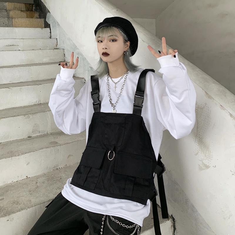 韩版ulzzang春季新款原宿风长袖卫衣+工装口袋马甲背心套装男女潮图片