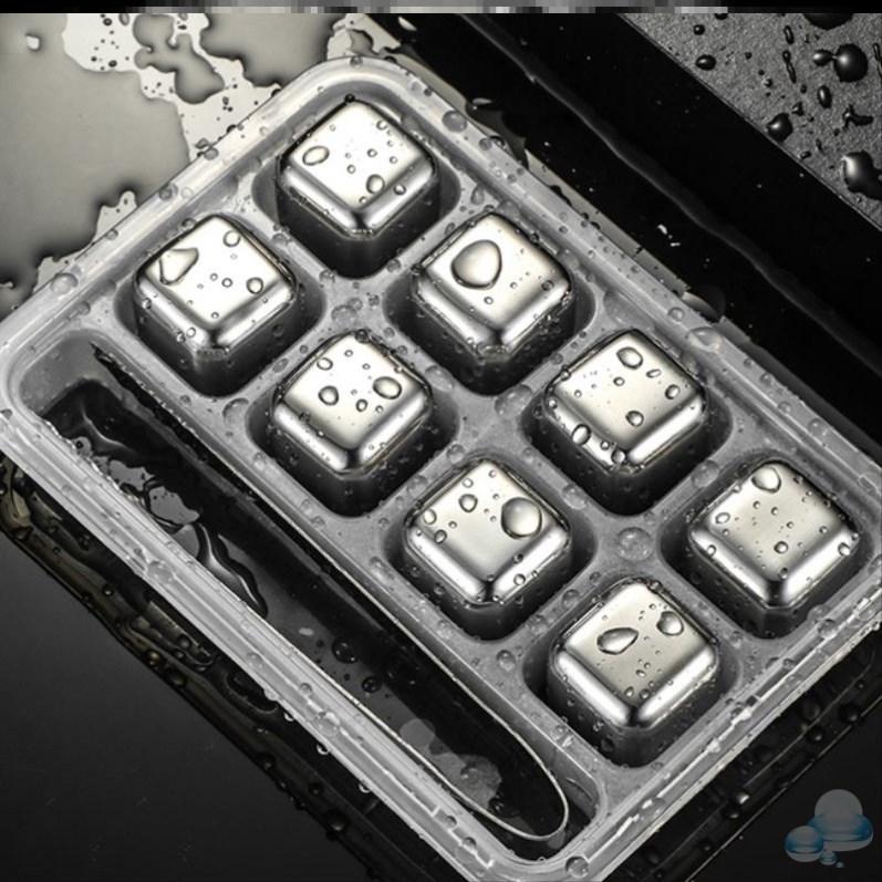 威士忌不锈钢冰块创意冷冻冰镇神器金属铁冰粒冰夹冷饮带盖收纳盒