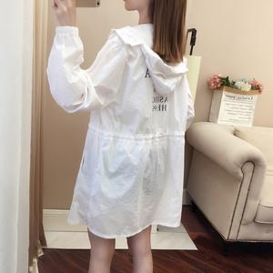 防晒衣女中长款2020新款韩版宽松过膝百搭开衫防晒服薄款外套风衣图片