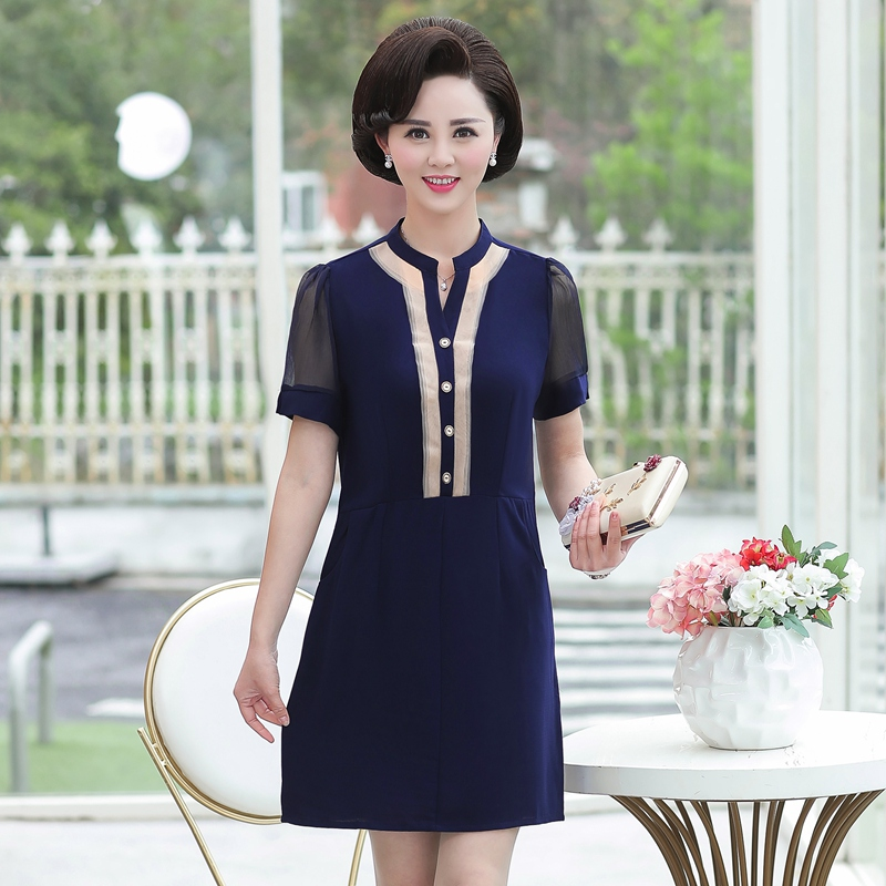 Small Chiffon Dress summer short sleeve high round neck buttock skirt pencil skirt