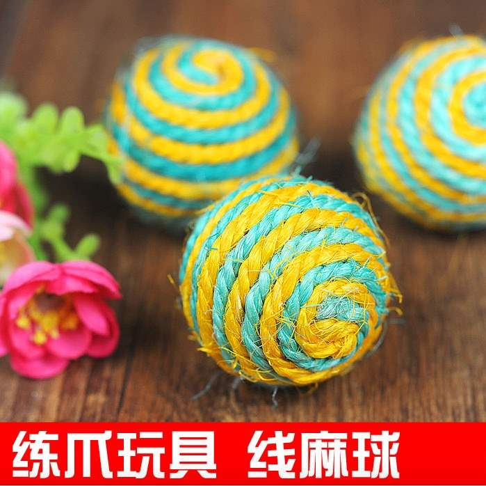 Sisal, dog, pet, cat toy, natural ball, cat catching the ball, cat dog toy, claw grinding, bite resistant
