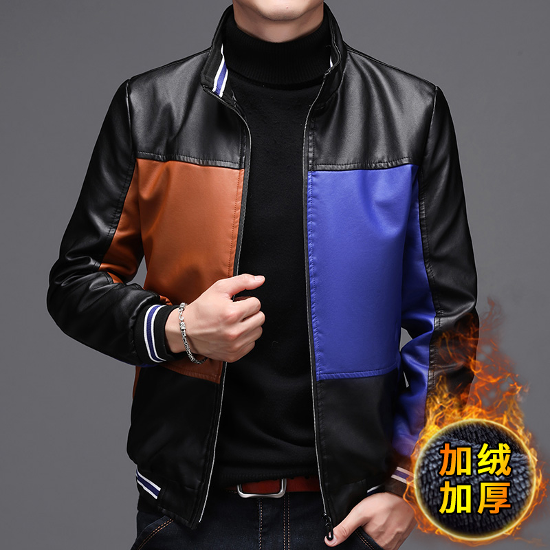 Autumn and winter 2020 new mens plush and thickened leather jacket casual color matching coat trend versatile leather clothes