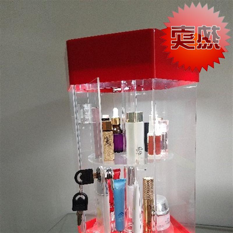 旋转亚克4力多层展示柜玩具饰品商用小型透明玻璃创意迷你展示台