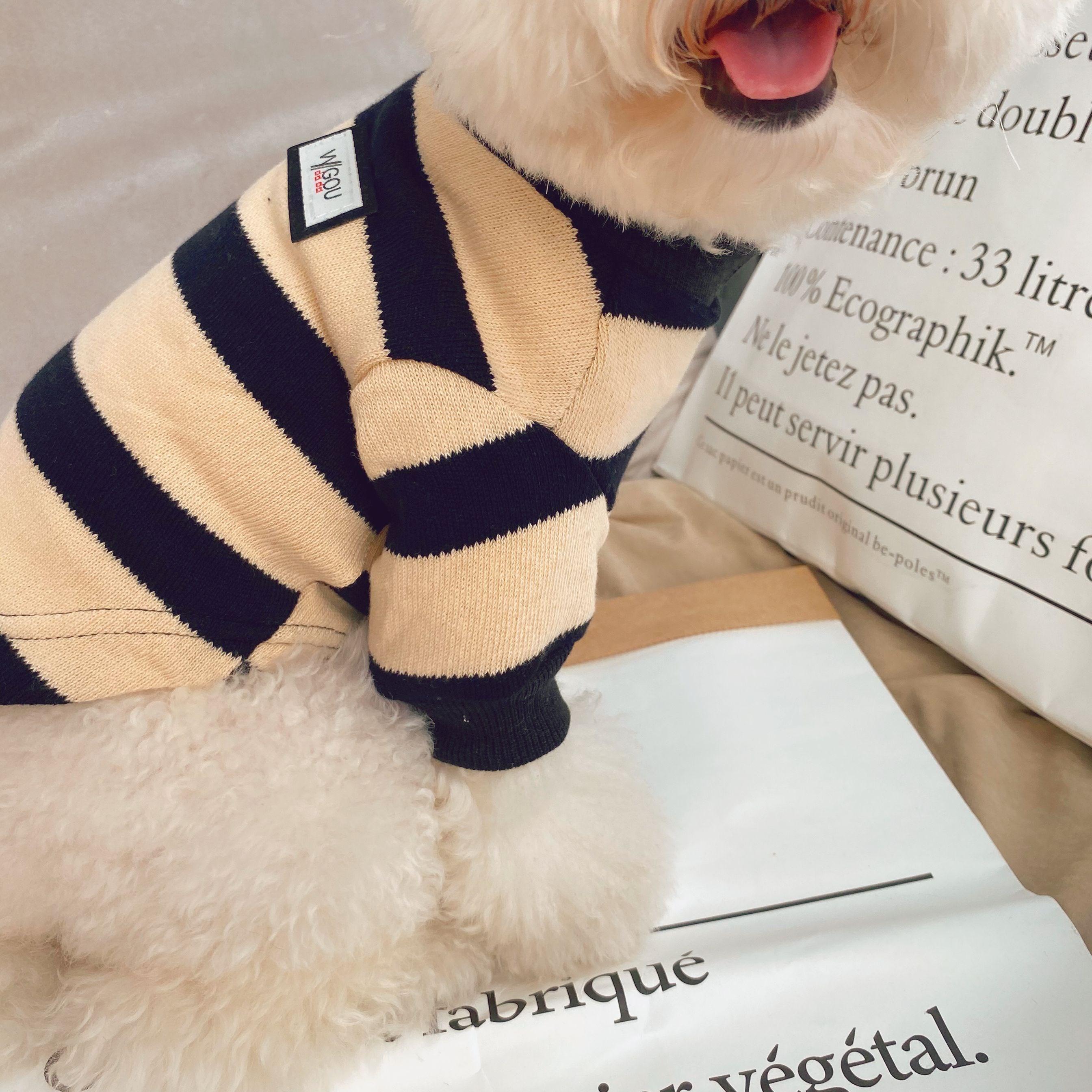 英伦条纹打底衫 宠物衣服狗狗服装针织衫秋冬毛衣套头泰迪犬比熊