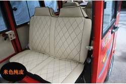 老年载客观光车家用封闭电动三轮四轮代步纯皮座套订做夏季座套