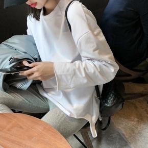 白色加绒打底衫女2020秋冬宽松内搭长袖t恤中长款洋气加厚上衣