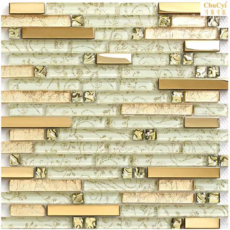 欧式金属不锈钢长条玻璃钻石夹胶马赛克电视背景墙瓷砖家装主材