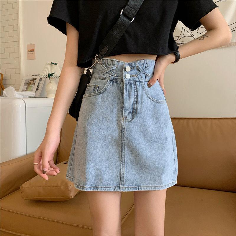 新款高腰宽松显瘦a字裙泫雅风牛仔短裙