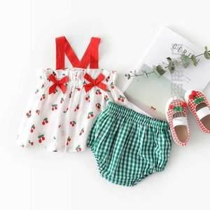 宝宝周岁生日拍照衣服洋气可爱樱桃两件套装婴儿吊带上衣面包短裤