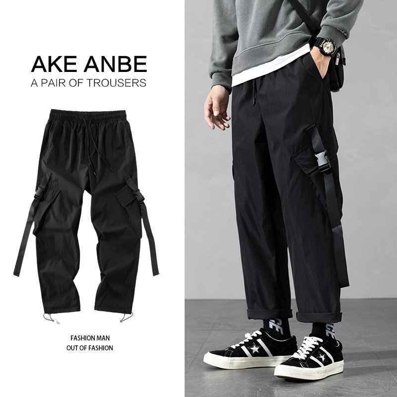Autumn new casual oversize overalls mens ins Korean Hong Kong style straight loose legged Capris