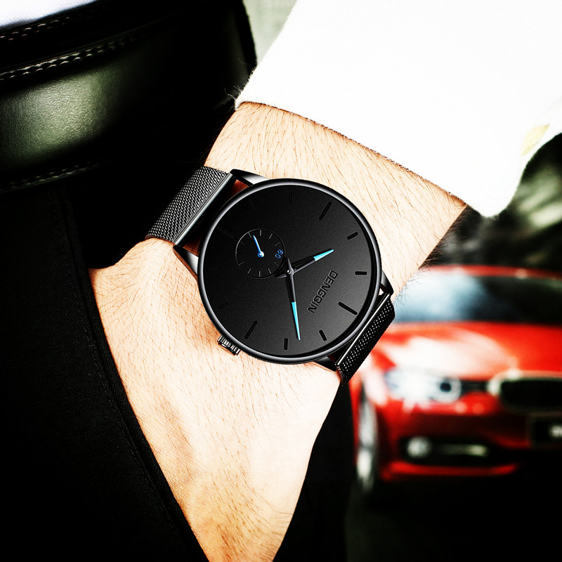 Simple and creative black technology waterproof mens watch fashion wormhole concept watch mens all black mens watch personality trend