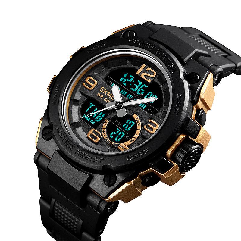 アウトドアスポーツダブルメンズ腕時計マルチ機能水泳防水時計カウントダウンLED電子時計