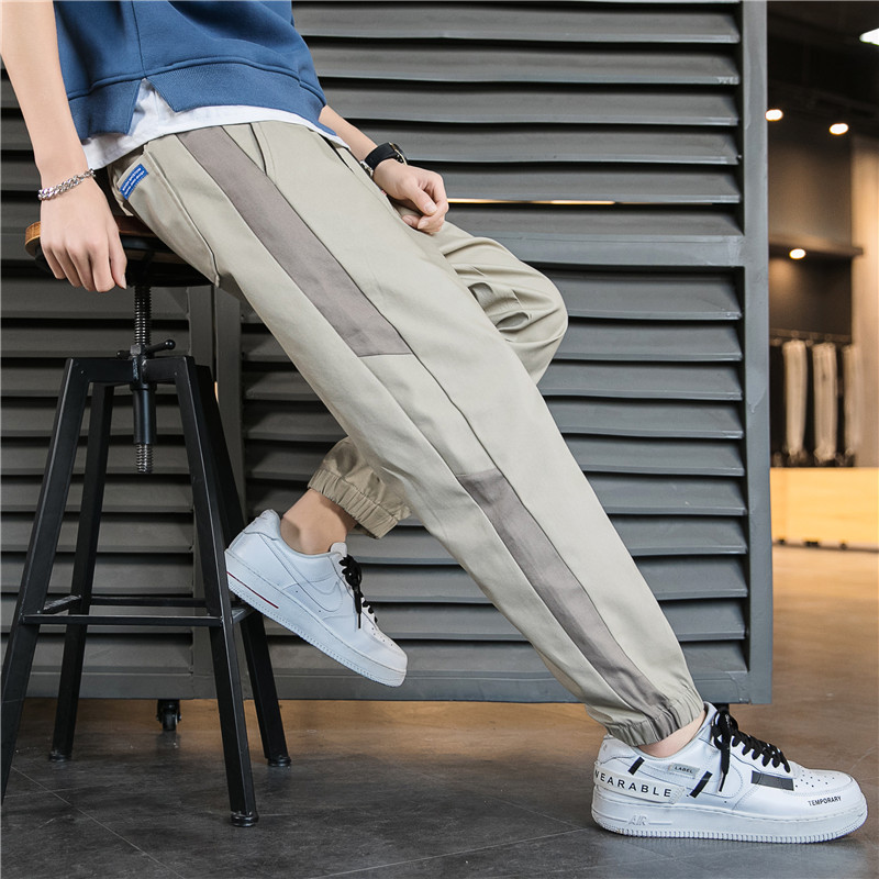 Mens autumn popular tie elastic casual cotton Leggings for young students