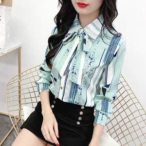 衬衫女长袖显瘦衬衣女2019秋季新款韩版印花大码雪纺衫修身打底衫