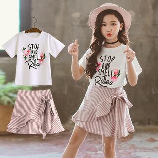 大童女装夏装女童短袖套装12小学生10短裙子13小女孩夏天穿的15岁