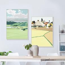 简约北欧手绘日系小清新四季风景森林装饰沙发背景墙客厅三联壁画