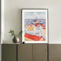橫版純手繪抽象油畫發財樹客廳床頭沙發背景墻輕奢北歐風格掛壁畫