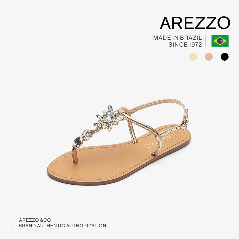 巴西AREZZO雅莉朶2019年新款多色夹趾带钻饰品百搭平底女凉鞋