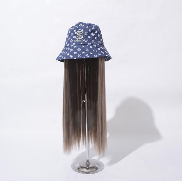 。 Long hair wig integrated straight hair wave fashion style with womens net detachable womens red long denim I hat roll spring and Autumn