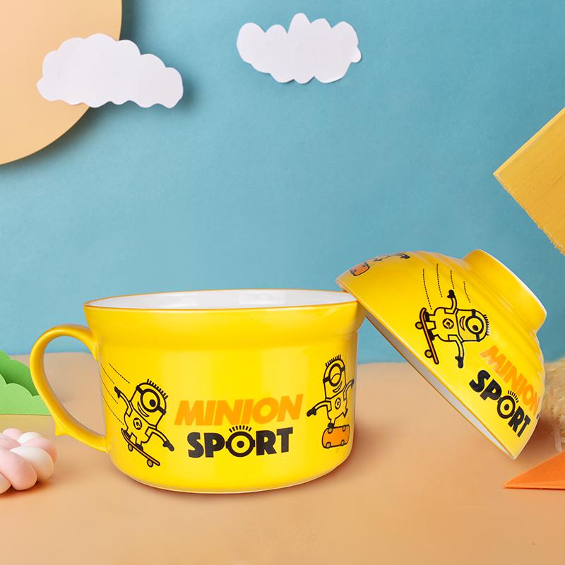 小黄人卡通表情杯陶瓷泡面碗带盖可爱超萌碗宿舍家用碗杯套装