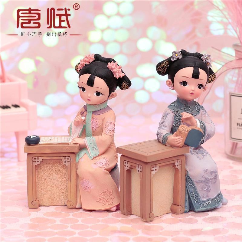 故宫娃娃俏格格人偶摆件中国风特色小礼品送老外国人北京古装玩偶