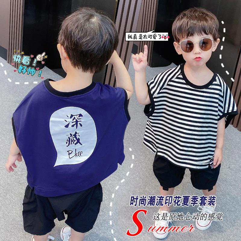 Sports summer suit mens short sleeve childrens Korean version 2 boys summer suit 3-year-old Batman shirt cross pants two-piece loose set