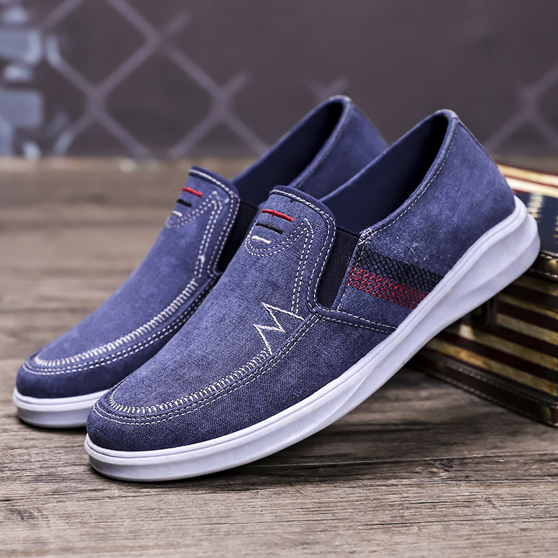 New washed denim canvas shoes fashion mens breathable leisure sports dad shoes Korean fashion shoes
