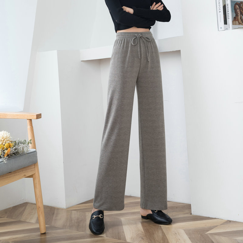 Cashmere high waisted knitted wide leg pants for women fall / winter 2020 new casual loose straight pants