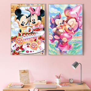 品都 迪士尼米老鼠唐老鸭卡通动漫diy数字油画手绘卧室背景装饰画