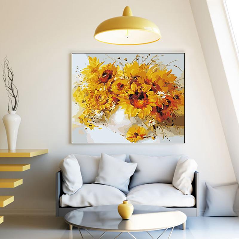 品都 向日葵花束瓷瓶花篮diy数字油画手工填色家居客厅卧室装饰画