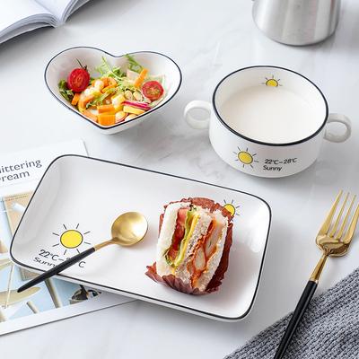 泰留恋 早餐餐具盘子创意网红ins一人食套装家用单人儿童碗勺562
