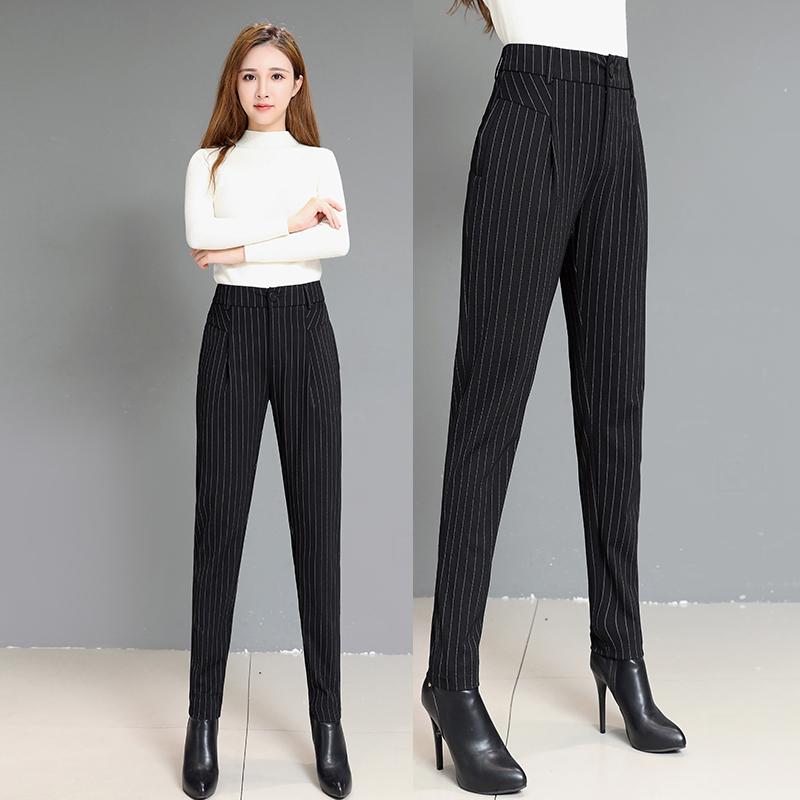 哈伦裤女裤春秋2020新款宽松条纹春季萝卜裤九分工装黑色裤子长裤