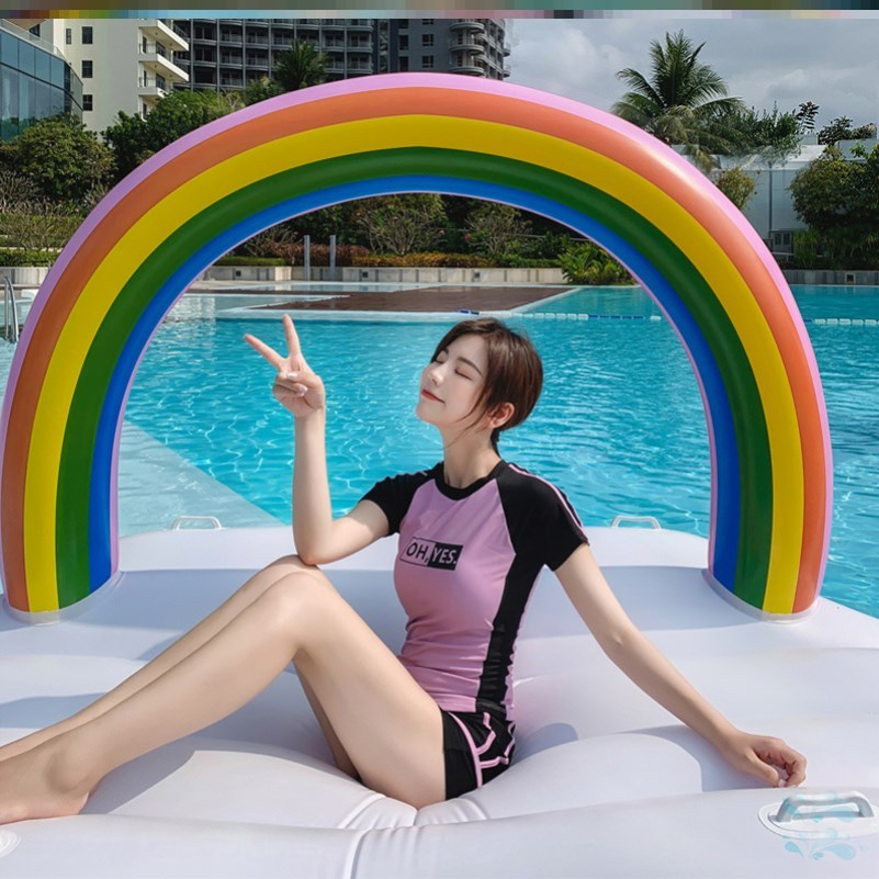 Short sleeve one-piece French special swimsuit female Lovely Japanese conservative enlarged swimming pool simple fairy split style