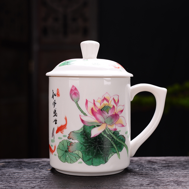 Cup with lotus pattern home office tea cup conference Cup Gift Cup women men ceramic water cup
