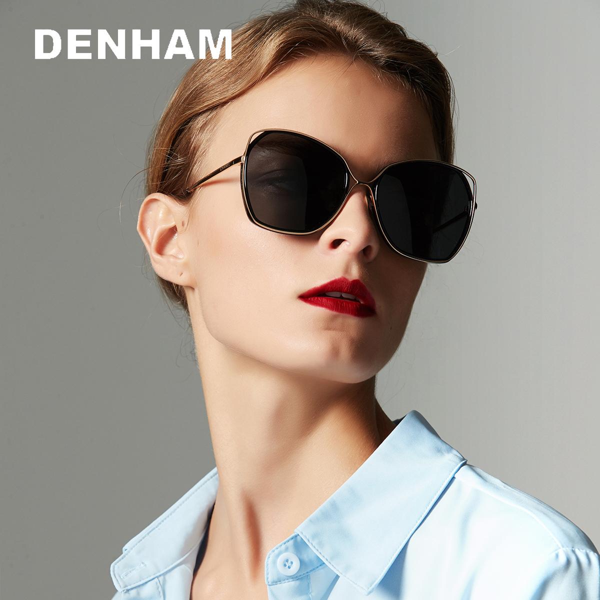 DENHAM时尚偏光可配近视太阳镜女士大框眼镜超轻墨镜防紫外线开车