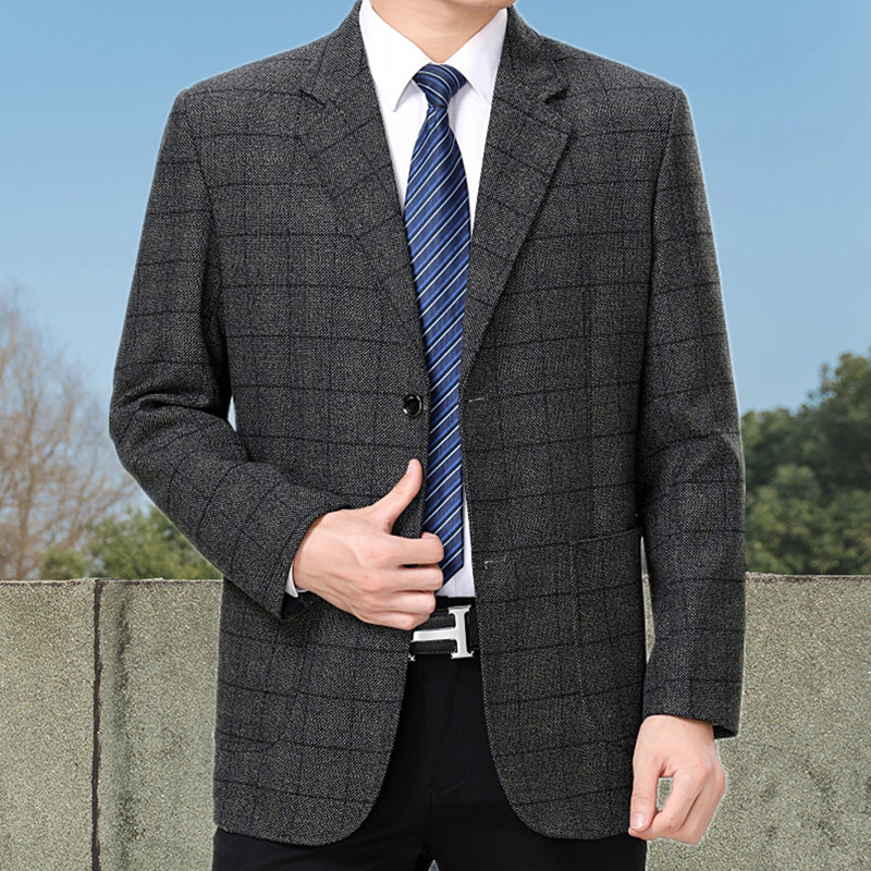 Spring and autumn 2020 dads easy to wear suit for middle-aged and elderly mens casual single suit