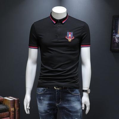 夏季短袖T恤男翻领POLO衫皇冠刺绣个性修身潮流 99353 P70
